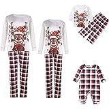 Christmas Family Matching Pajamas Set Deer Print Top Classic Plaid Pants Xmas Sleepwear for Men,Women,Teens,Kids,Newborn Baby