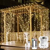 LE LED Window Curtain Lights, 300 LED, 9.84ft x 9.84ft, 8 Modes, USB & Battery Powered String Fairy Light with Remote Control