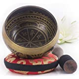 Silent Mind ~ Antique Design Tibetan Singing Bowl Set ~ Great For Mindfulness Meditation Relaxation Stress & Anxiety Relief C