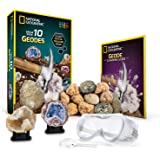 National Geographic Break Open 10 Premium Geodes – Includes Goggles, Detailed Learning Guide & 2 Display Stands - Great Stem