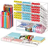 Marbrasse Acrylic Pen Organizer, 3 Pcs Clear Desk Organizer with pencil cup, Marker Pencil Storage Caddy Tray, Multi-Function