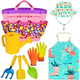Gardening Tools Toy Set for Girls Boys with Beatiful Storage Bag, Watering Can, Gardening Gloves, Shovels, rake, Apron, Sun H