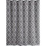 "Biscaynebay Printed Fabric Shower Curtain, Morocco Pearl Bathroom Curtain (72""X72"", Morocco Silver Grey)"