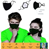 3 Layer Cotton Black Mask Washable, Breathable, Lightweight & Reusable Cover For Adult, Men & Women, Flexible Fit dust Protec