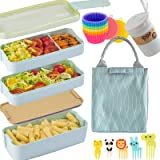 Bento Box Japanese Lunch Box Kit (16 PCS) 3-In-1 Compartment, Leak-proof Bento Lunch Box Meal Prep Containers with Utensils,