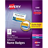 """Avery Premium Personalized Name Tags, Print or Write, 2-1/3"""" x 3-3/8"""", 400 Adhesive Tags (5395)"""