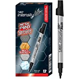 BIC Intense BIC Intensity Permanent Metal Pro Marker - Pack of 12 Markers – Bullet Tip, Fade and Water Resistant, Quick Dry I