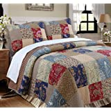 Cozy Line Home Fashions Sanders Floral Real Patchwork Red Navy 100% Cotton Reversible Quilt Bedding Set, Cotton, Red / Navy,