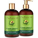 SheaMoisture Power Greens Curly Hair Shampoo and Conditioner Dry Hair Moringa Avocado to moisturize 13oz