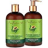 SheaMoisture Power Greens Curly Hair Shampoo and Conditioner Dry Hair Moringa Avocado to moisturize 13oz