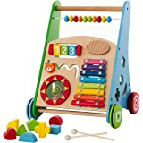 Baby Toys – Kids' Activity Toy – Wooden Push and Pull Learning Walker for Boys and Girls – Multiple Activities Center – Assem