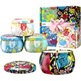 Large Size Scented Candles Gifts Sets for Women-Gardenia, Lavender, Jasmine and Vanilla, Natural Soy Wax Portable Travel Tin