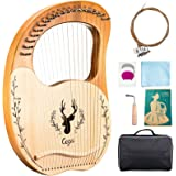 Etosok Lyre Harp, 19 Metal String Spruce wood instrument with Tuning Wrench and Carry Bag (#2)