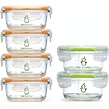 Sage Spoonfuls Tough Glass Combo Pack Baby Food Storage Containers - 4 4-Ounce Jars, 2 7-Ounce Bowls - Fridge, Freezer, Micro