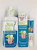 【4種の天然酵素配合!お口の乾燥対策に】オーラル7 モイスチャライジング マウスウォッシュ 250ml&マウスジェル 50g セット(各1本)