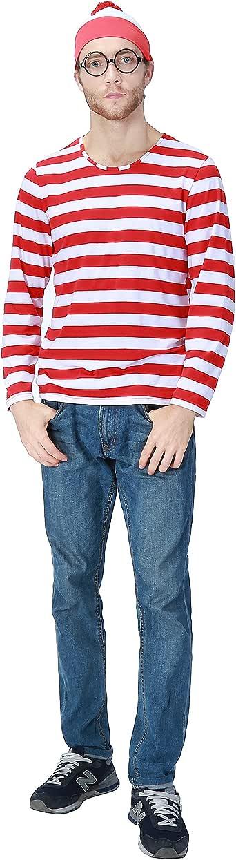 クリスマス衣装 ボーダー 3点セット コスプレ ウォーリーをさがせ ウォーリーを探せ コスチューム ウォーリー 仮装 クリスマス 衣装 大人用 男性 (L)