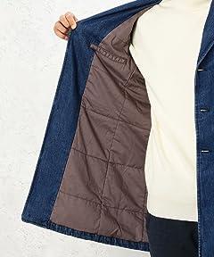 Denim Padded Chesterfield Coat 3225-199-1998: Cobalt