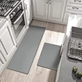 Anti Fatigue Kitchen Rug Sets, 2 Piece Non Skid Cushioned Comfort Standing Kitchen Mat Sets Waterproof and Oil Proof Floor Ru