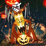 GOOSH 8 Foot High Halloween Inflatable Ghost Tree with Pumpkin with Ghost with Build-in White Brights Lights Blow Up Inflatab