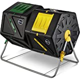 Miracle-GRO Large Dual Chamber Compost Tumbler - Easy-Turn, Fast-Working System - All-Season, Heavy-Duty, High Volume Compost