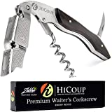 Waiters Corkscrew by HiCoup - Professional Ebony Wood All-in-one Corkscrew, Bottle Opener and Foil Cutter, the Favoured Wine