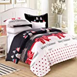 LAMEJOR Duvet Cover Sets Queen Size Christmas Series Christmas Tree and Bells Pattern Bedding Set Comforter Cover(1 Duvet Cov