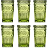 Kingrol 6 Pack Vintage Drinking Glasses, 12 oz Embossed Romantic Water Glassware, Glass Tumbler Set for Juice, Beverages, Bee