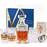 Nou Living 11 Pc Crystal Whiskey Decanter Sets for Men - Classic Whiskey Decanters and Whiskey Glasses Set of 6 - Whiskey Gif