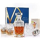 Nou Living 11 Pc Crystal Whiskey Decanter Set with Glasses – Classic Whiskey Decanter and Glass Set of 6 – Crystal Liquor Dec