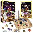 NATIONAL GEOGRAPHIC Mega Gemstone Dig Kit – Dig Up 15 Real Gems, STEM Science & Educational Toys make Great Kids Activities,