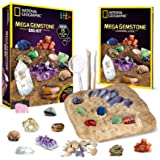 NATIONAL GEOGRAPHIC Mega Gemstone Dig Kit – Dig Up 15 Real Gems, STEM Science & Educational Toys make Great Kids Activities,