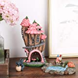 Fairy Garden Gnome Accessories Kit - Hand Painted Miniature Solar Powered Fairy House Dragon Figurine Set of 4 pcs, Indoor &