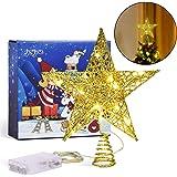 Joyjoz Christmas Tree Topper, Gold Christmas Tree Star with 15 LED Lights, 10 Inch Christmas Tree Star for Christmas Tree Dec
