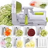 Brieftons 7-Blade Spiralizer: Strongest-and-Heaviest Duty Vegetable Spiral Slicer, Best Veggie Pasta Spaghetti Maker for Low