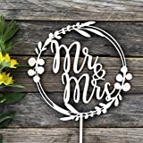 HappyPlywood Eucalyptus Wreath Cake Topper for Wedding Wooden Wreath with Leaves Floral Wedding Decor Mr&Mrs (Unpainted)