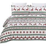 Vaulia Lightweight Microfiber Duvet Cover Set, Printed Pattern Design for Christmas Season, Red/Green - King