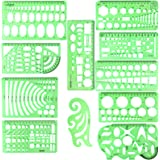 11PCS Geometric Drawings Templates, Drafting Stencils Measuring Tools, BetyBedy Plastic Clear Green Ruler Shapes with a Zippe