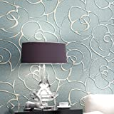 KeTian Modern Minimalist 3D Rose Flower Non-Woven Deep Embossed Textured Living Room Bedroom Wallpaper Roll Light Blue 0.53m