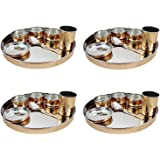 Indian dinnerware 25-Piece Set Stainless Steel Copper Traditional Dinner Set of thali Plate, Bowls, Tumbler and Spoon, Diamet