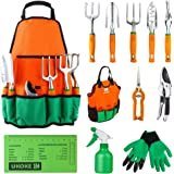 UKOKE Garden Tool Set, 12 Piece Aluminum Hand Tool Kit, Garden Canvas Apron with Storage Pocket, Outdoor Tool, Heavy Duty Gar