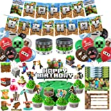 Pixel Style Gamer Birthday Party Supplies for Game Fans, 125 Pcs Birthday Party Decorations for Kids - Banner, Cake and Cupca