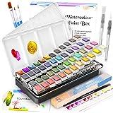Watercolor Paint Set, Emooqi 42 Premium Colors + 6 Metallic Colors Pigment+ 2 Hook Line Pen+ 3 Water Brushes +10 Sheets of Wa
