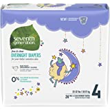 Seventh Generation Baby Overnight Diapers, Free and Clear, Stage 4, 22-32lbs, 96 count (Packaging May Vary)