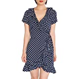 May&Maya Women's Polka Dot Wrap Midi Dress