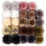 24 Pieces Faux Fur Pom Pom Balls Fur Fluffy Pompom Ball with Elastic Loop for Hats Shoes Scarves Gloves Scarves Bag Keychain