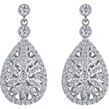 EVER FAITH 925 Sterling Silver Elegant Pave CZ Hollow-out Gastby Inspired Chandelier Earrings Clear