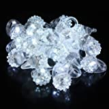 Fun Central 24 Pack - LED Jelly Bumpy Rings, Flashing Rings Party Favors for Concert & Wedding - White