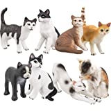 Toymany 8PCS Cat Figures High Realistic Cat Companions Figures Toy Set Cat Toy Figures Set For Boys Girls Kids Toddlers