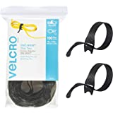 VELCRO Brand Fasteners, Adhesive ONE-WRAP Light Cable Ties Reusable 100 Pack, Black, 20.3cm x 1.2cm, (91140)