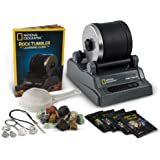 NATIONAL GEOGRAPHIC Hobby Rock Tumbler Kit - Rough Gemstones, 4 Polishing Grits, Jewellery Fastenings, Great STEM Science Kit
